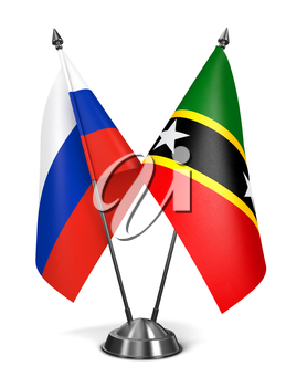 Russia, Saint Kitts and Nevis - Miniature Flags Isolated on White Background.