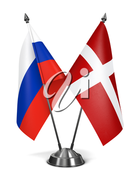 Russia and Sovereign Military Order Malta - Miniature Flags Isolated on White Background.