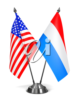 USA and Luxembourg - Miniature Flags Isolated on White Background.