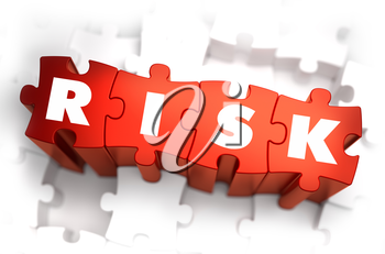 Risk - White Word on Red Puzzles on White Background. 3D Render.