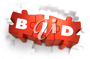 Bid - White Word on Red Puzzles on White Background. 3D Illustration.