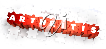 Arthritis - White Word on Red Puzzles on White Background. 3D Illustration.