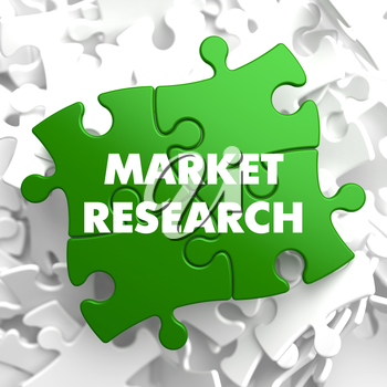 Market Research on Green Puzzle on White Background.