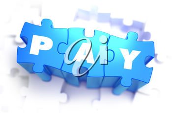 Pay - Text on Blue Puzzles on White Background. 3D Render.