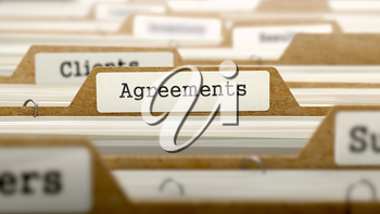 Agreements Concept. Word on Folder Register of Card Index. Selective Focus.