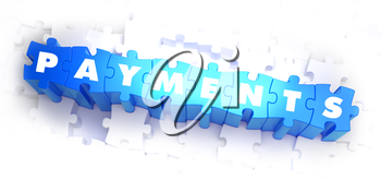 Payments - Text on Blue Puzzles on White Background. 3D Render.