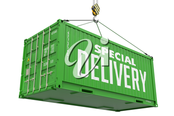 Special Delivery -Green  Cargo Container hoisted by hook, Isolated on White Background.
