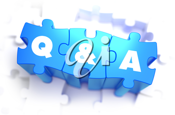 Question and Answer - White Text on Blue Puzzles on White Background and Selective Focus. 3D Render.