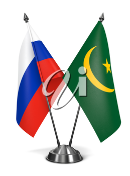 Russia and Mauritania - Miniature Flags Isolated on White Background.