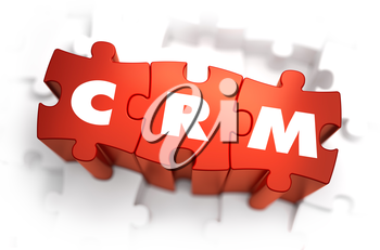 CRM - White Word on Red Puzzles on White Background. 3D Illustration.