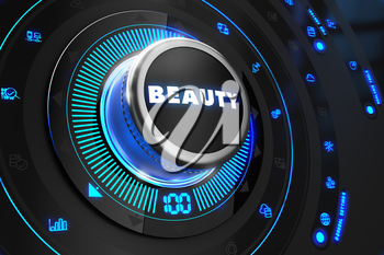 Beauty Controller on Black Control Console with Blue Backlight. Increase, improvement, control or management concept.