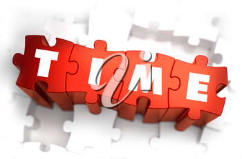Time - White Word on Red Puzzles on White Background. 3D Illustration.