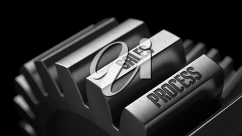 Sales Process on the Metal Gears on Black Background.