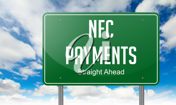 NFC Payments - Highway Signpost on Sky Background.