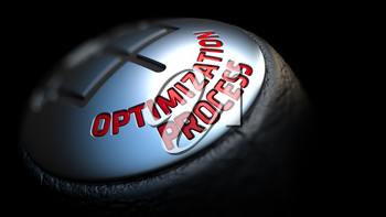 Optimization Process. Gear Shift with Red Text on Black Background. Selective Focus. 3D Render.