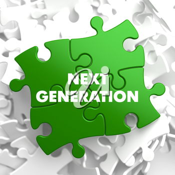 Next Generation on Green Puzzle on White Background.