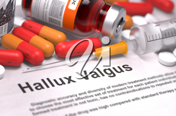 Diagnosis - Hallux Valgus. Medical Concept with Red Pills, Injections and Syringe. Selective Focus. 3D Render.