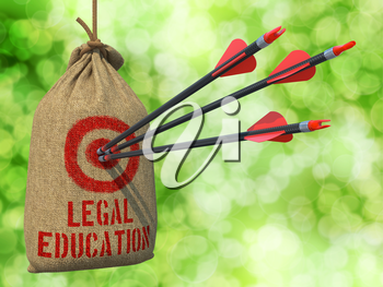 Legal Education - Three Arrows Hit in Red Target on a Hanging Sack on Natural Bokeh Background.