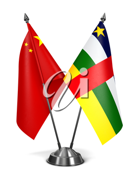 China and Central African Republic - Miniature Flags Isolated on White Background.