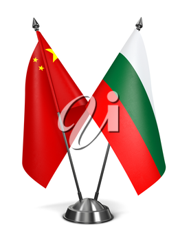 China and Bulgaria - Miniature Flags Isolated on White Background.