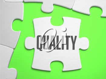 Quality - Jigsaw Puzzle with Missing Pieces. Bright Green Background. Close-up. 3d Illustration.