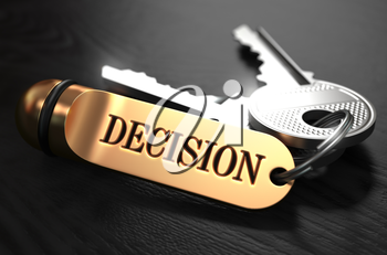 Decision Concept. Keys with Golden Keyring on Black Wooden Table. Closeup View, Selective Focus, 3D Render.