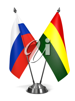 Russia and Bolivia - Miniature Flags Isolated on White Background.