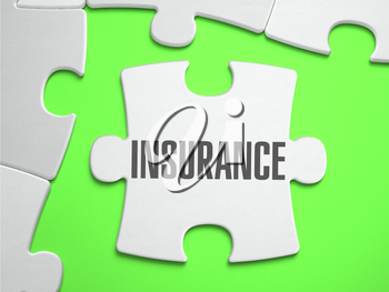 Insurance - Jigsaw Puzzle with Missing Pieces. Bright Green Background. Close-up. 3d Illustration.