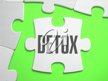 Detox - Jigsaw Puzzle with Missing Pieces. Bright Green Background. Close-up. 3d Illustration.