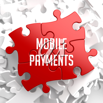 Mobile Payments on Red Puzzle on White Background.