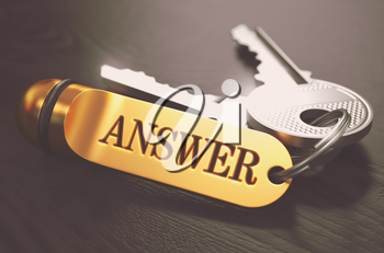 Answer- Bunch of Keys with Text on Golden Keychain. Black Wooden Background. Closeup View with Selective Focus. 3D Illustration. Toned Image.