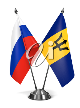 Russia and Barbados - Miniature Flags Isolated on White Background.