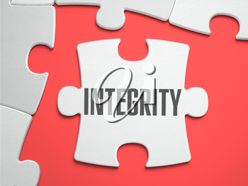 Integrity  - Text on Puzzle on the Place of Missing Pieces. Scarlett Background. Close-up. 3d Illustration.