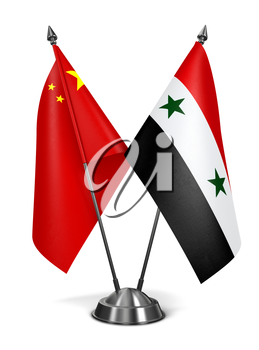 China and Syria - Miniature Flags Isolated on White Background.