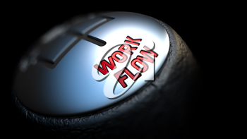 Gear Stick with Red Text Work Flow on Black Background. Selective Focus. 3D Render.