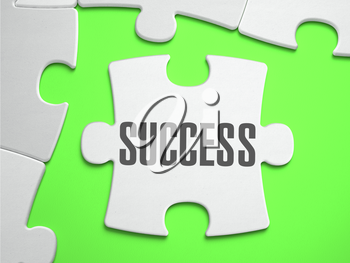Success - Jigsaw Puzzle with Missing Pieces. Bright Green Background. Close-up. 3d Illustration.