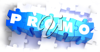 Promo - White Text on Blue Puzzles on White Background and Selective Focus. 3D Render.