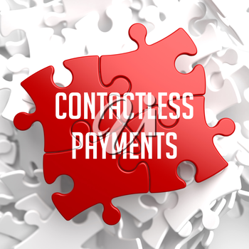 Contactless Payments on Red Puzzle on White Background.