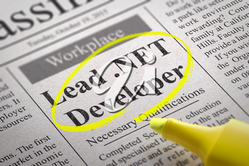 Lead NET Developer Vacancy in Newspaper. Job Search Concept.