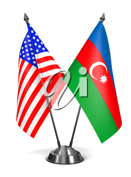 USA and Azerbaijan - Miniature Flags Isolated on White Background.