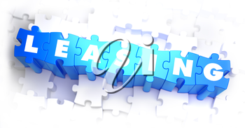 Leasing - Text on Blue Puzzles on White Background. 3D Render.