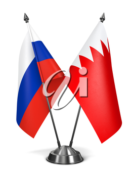 Russia and Bahrain - Miniature Flags Isolated on White Background.