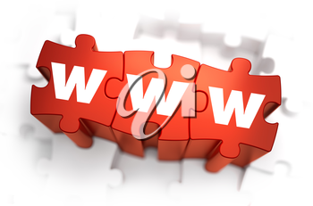 WWW - World Wide Web -White Word on Red Puzzles on White Background. 3D Illustration.