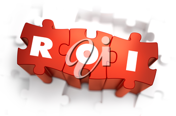 ROI - Return of Investment - White Word on Red Puzzles on White Background. 3D Render.