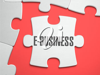 E-Business - Text on Puzzle on the Place of Missing Pieces. Scarlett Background. Close-up. 3d Illustration.