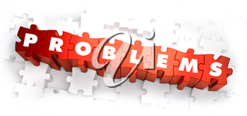 Problems - Text on Red Puzzles on White Background. 3D Render.
