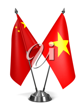 China and Vietnam - Miniature Flags Isolated on White Background.