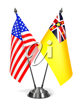 USA and Niue - Miniature Flags Isolated on White Background.