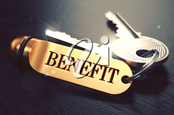 Benefit  Concept. Keys with Golden Keyring on Black Wooden Table. Closeup View, Selective Focus, 3D Render. Toned Image.