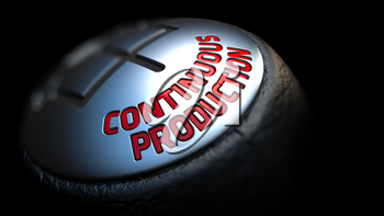 Continuous Production - Red Text on Black Gear Shifter with Leather Cover. Close Up View. Selective Focus.